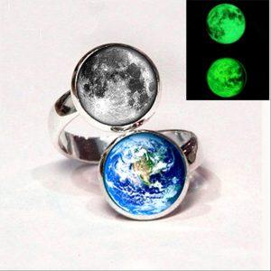 Glowing Earth and Moon Night Balance Ring