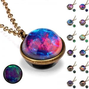 Glowing Glass Dome Galaxy System Pendant Necklace