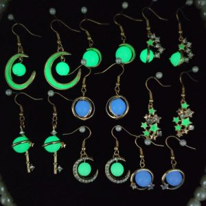 Glowing Astronomical Stars and Moons Hanging Earrings