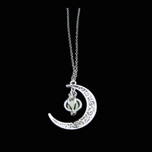 Glowing Crescent Moon Pendant Necklace