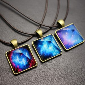 Glowing Pyramid Space Charm Necklace