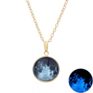 Glowing Full Moon Pendant Necklace