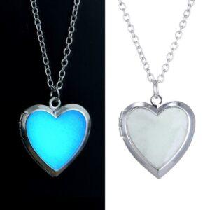 Glow in the Dark Heart Necklace Photo Locket – Daisy, Cross, Windmill, Tree, Butterfly