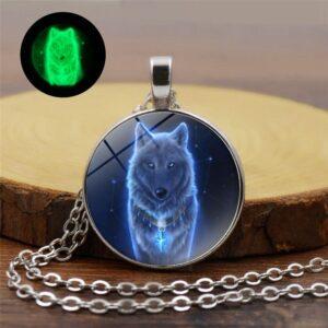 Glow In The Dark Night Wolf Necklace