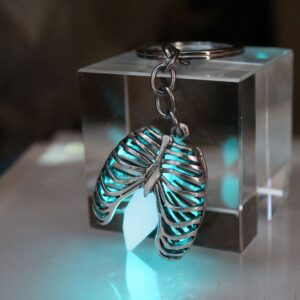 Glow in the Dark Heart in a Skeleton's Ribcage Keychain Pendant