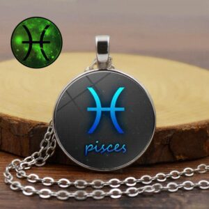 Zodiac Twelve Constellation Glow in the Dark Pendant Necklace