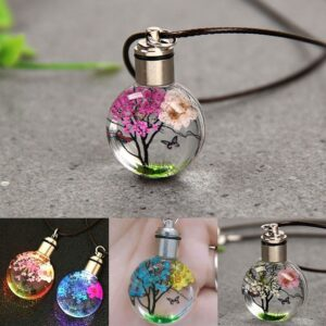 Glow in the Dark Dried Flower and Butterfly Glass Ball Pendant Necklace