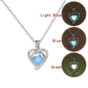 Glow in The Dark Locket Necklace – Anchor, Horse, Dolphin, Seahorse, Owl, Angel, Dove, Pistol, Crown, Key, Skull, Mermaid, Owl, Butterfly, Heart