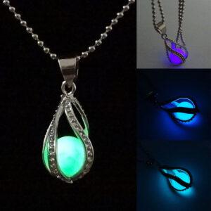 Little Mermaid Glow in the Dark Pendant Teardrop Necklace