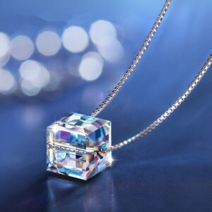 925 Sterling Silver Crystal Cube Charm Necklace