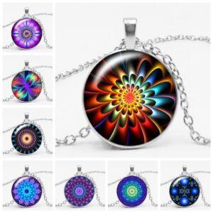 Buddhist Yoga Kaleidoscope Mandala Glass Gem Pendant Necklace