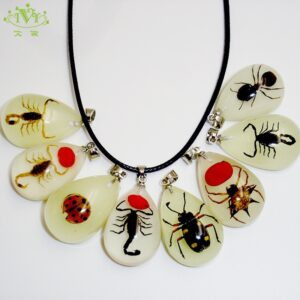 Glow In Dark Actual Insect in Resin Scorpion Spider and more Pendant Necklace