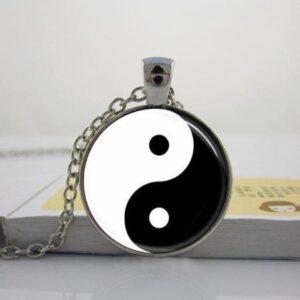Glow in the Dark Handmade Tai Ji Glass Tile Yin Yang Pendant Necklace