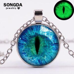 Glow in the Dark Blue Cat Eye  /  Dragon Eye of Sauron Pendant Necklace