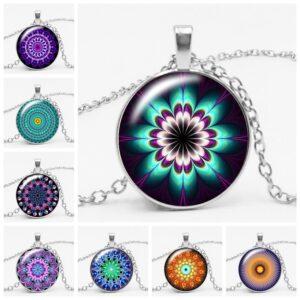 Kaleidoscope Wind Mandala Glass Pendant Necklace