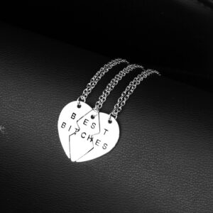 """""""Best Bitches"""" Best Friend – Share your Heart with your Best Girlfriends Pendant Necklace"""