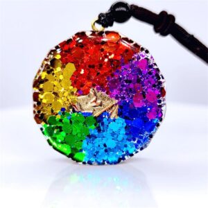 Natural Crystal Orgonite Sri 7 Chakra Reiki Healing Energy Cube Yoga Gem Pendant Necklace