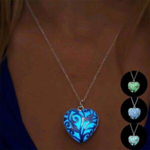 Glow in the Dark Heart Vine Pendant Necklace